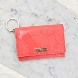 Kate spade pink patent embossed keychain wallet